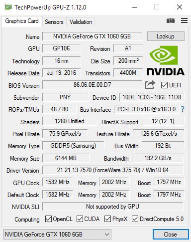 PNY GeForce GTX1060 6GB XLR8 Gaming OC