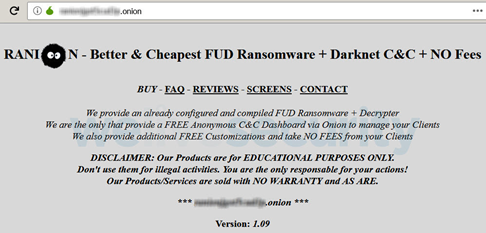 Ransomware Ranion se ofrece en la dark web.
